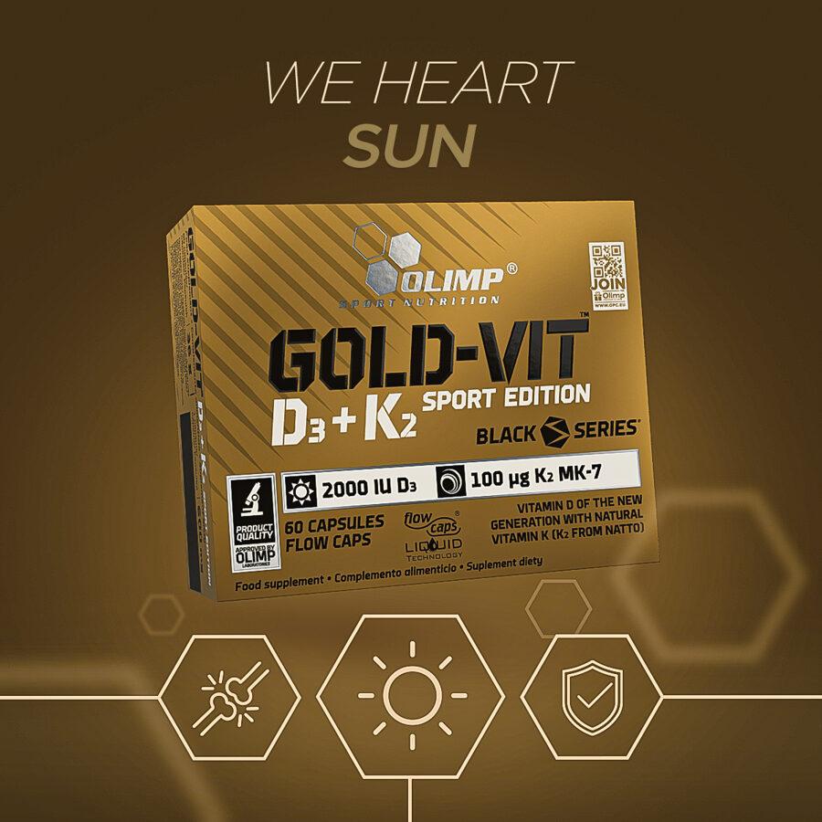 D vitamīns, Gold-Vit D3+K2, Olimp Sport Nutrition, 60 kapsulas